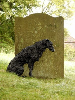 Wolfhound at the grave of his master