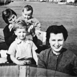 The author's mother, June, between sessions at psychiatric hospitals in 1958, with the author, his sister and their au pair.